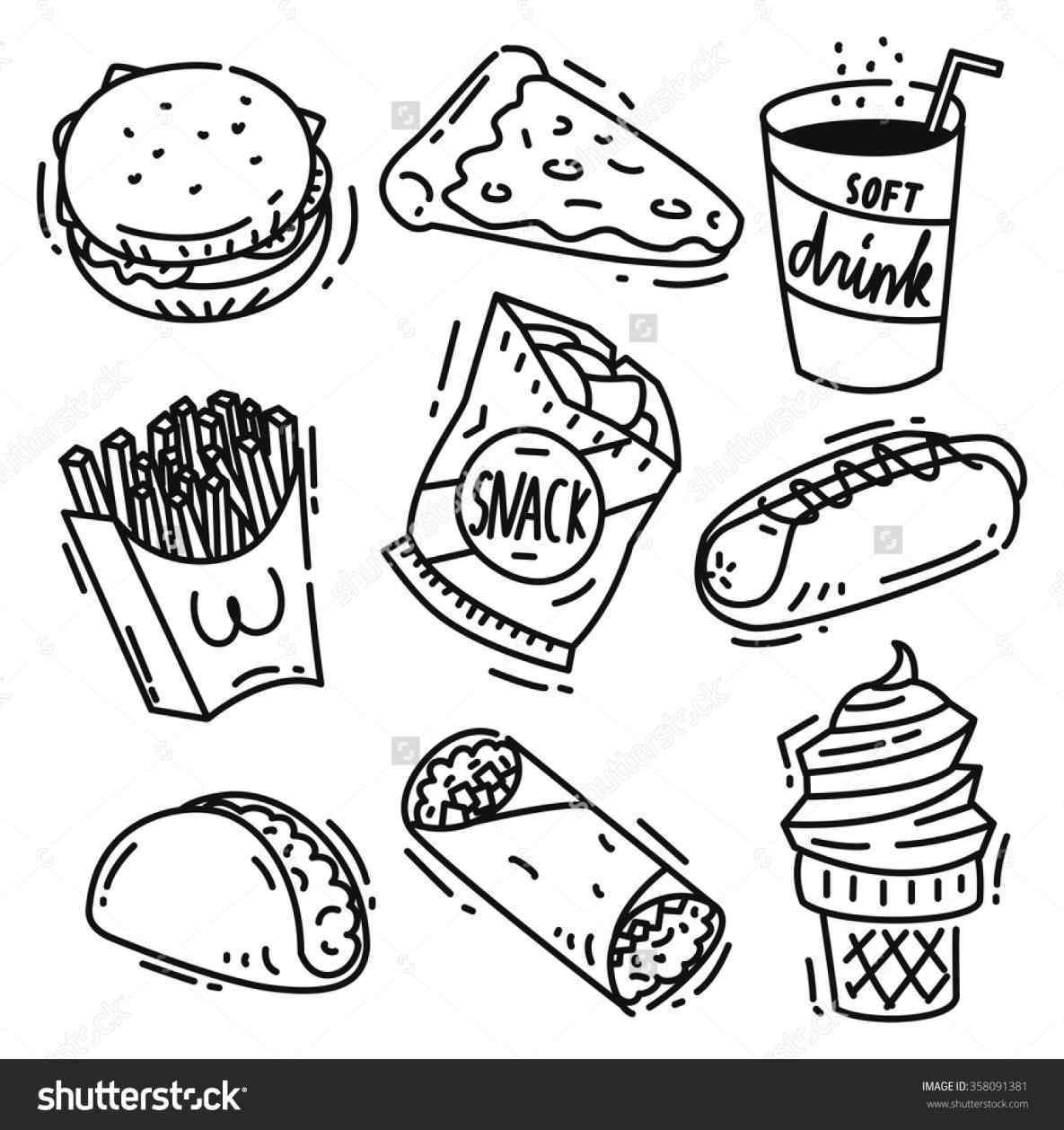 Unhealthy Food Clipart Black And White.