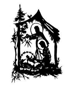 Christmas Nativity Silhouettes Digital Art Set Clipart Commercial.