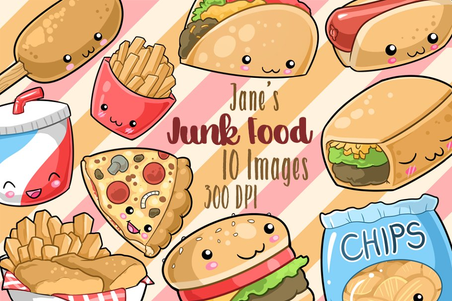 Kawaii Junk Food Clipart.