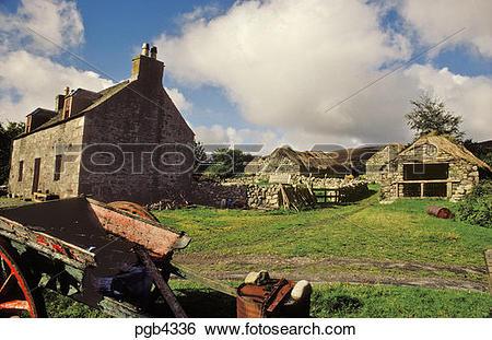 Stock Images of Scotland. Isle of Jura. Farmstead at Keils.