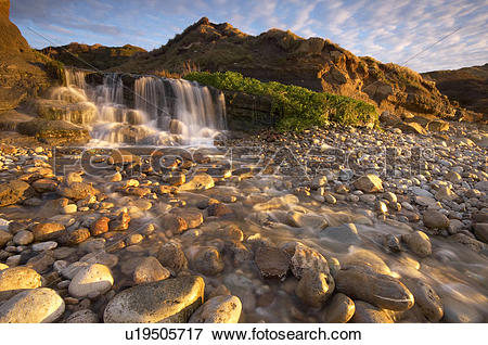 Picture of England, Dorset, Osmington Mills, A waterfall flowing.