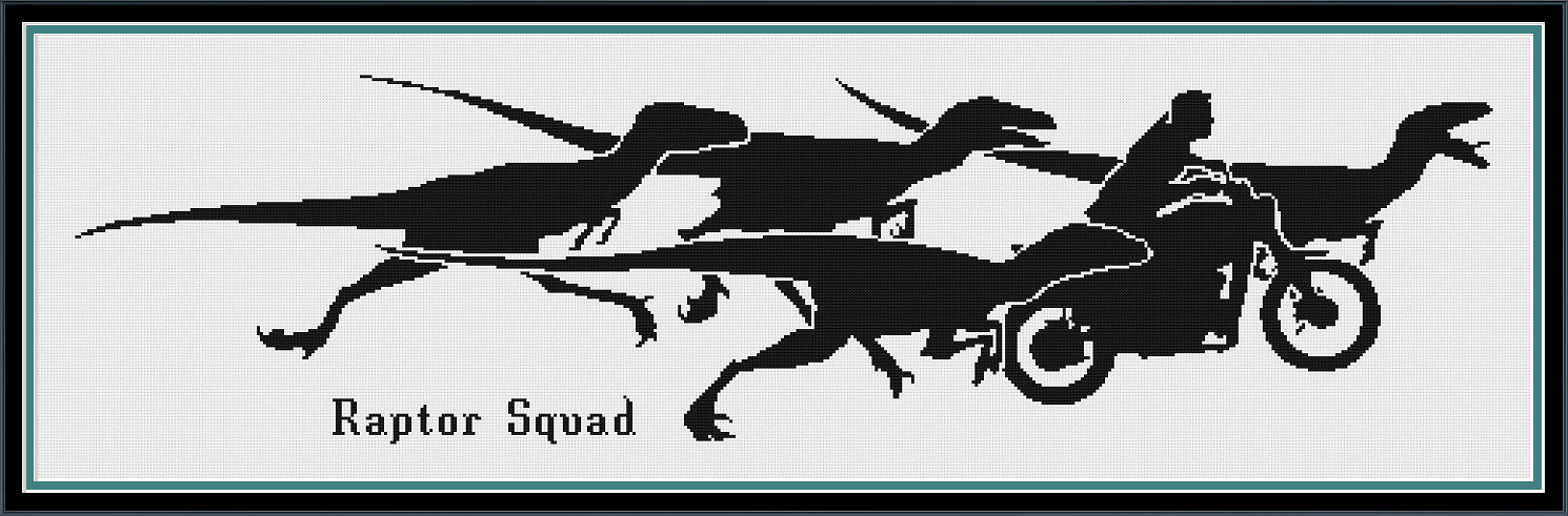 Jurassic World Raptor Squad Silhouette Counted Cross Stitch.