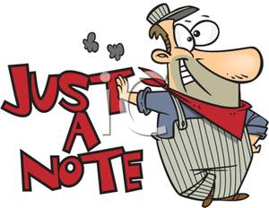 A Colorful Cartoon of a Just a Note Notepad.