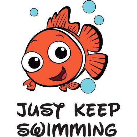 Just Keep Swimming Finding Nemo Quote Baby Kid Childrens Girl Boy Picture  Art Mural Custom Wall Decal Vinyl Sticker 10 Inches X 14 Inches.