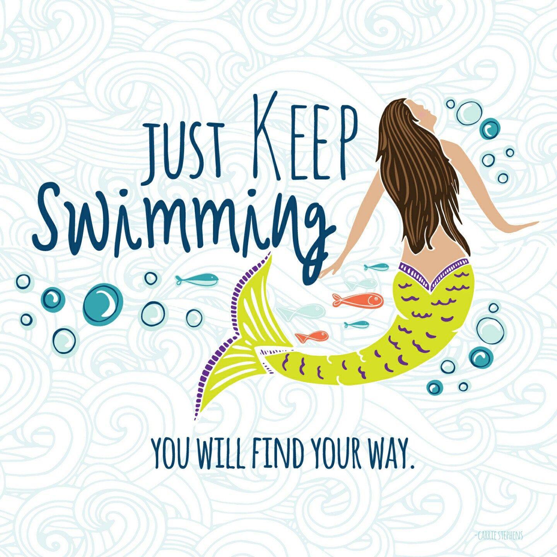 Mermaid ClipArt PNG, Just Keep Swimming Graphics, Mermaid Swim Team.