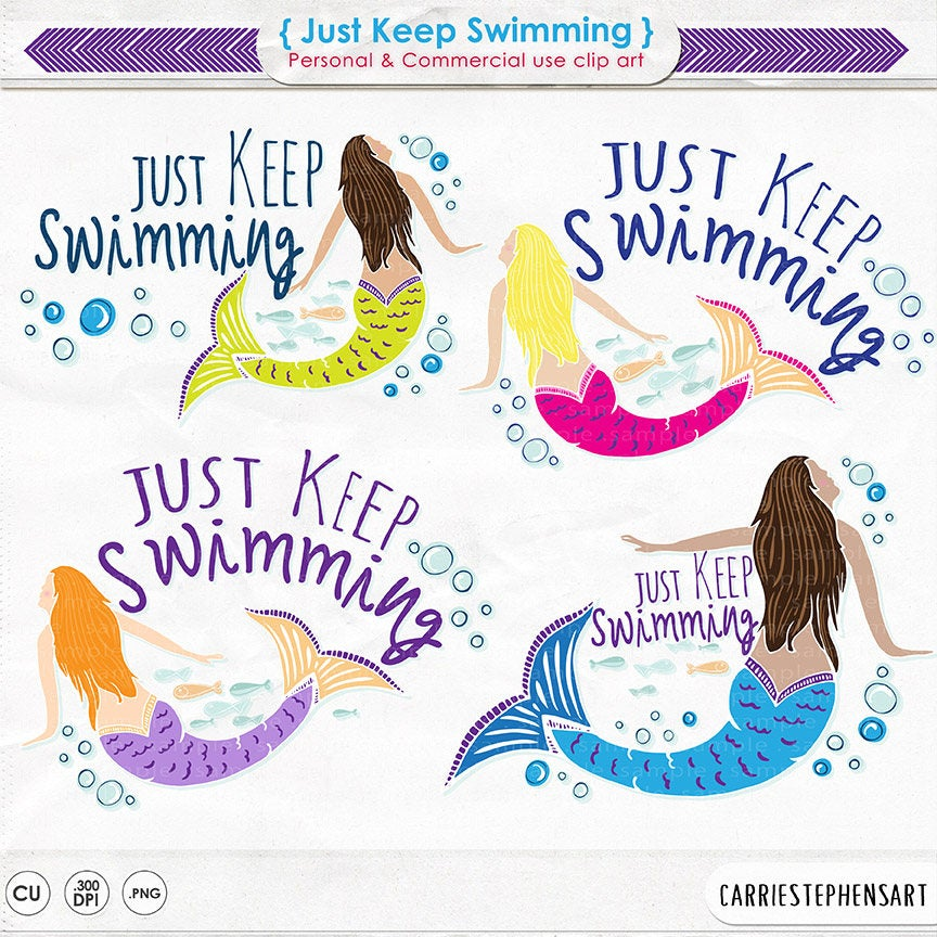 Mermaid ClipArt PNG, Just Keep Swimming Graphics, Mermaid Swim Team Gifts,  DIY Print your own Temporary Tattoos, Printable Image Transfer.