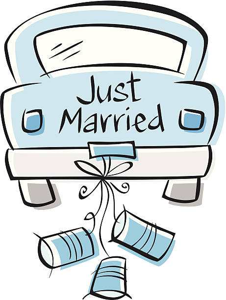 Best Just Married Car Illustrations, Royalty.