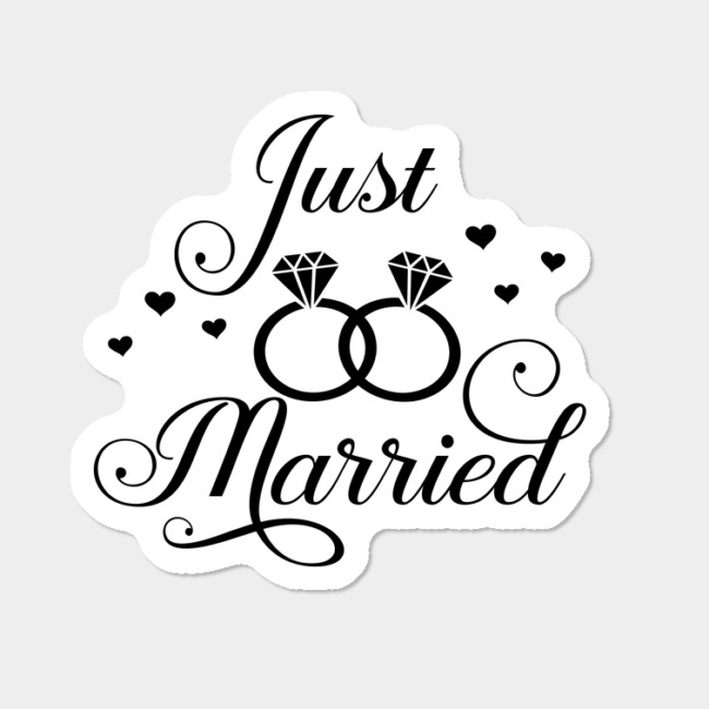 Lesbian Just Married With Rings And Hearts Sticker By TheRandom Design By  Humans.
