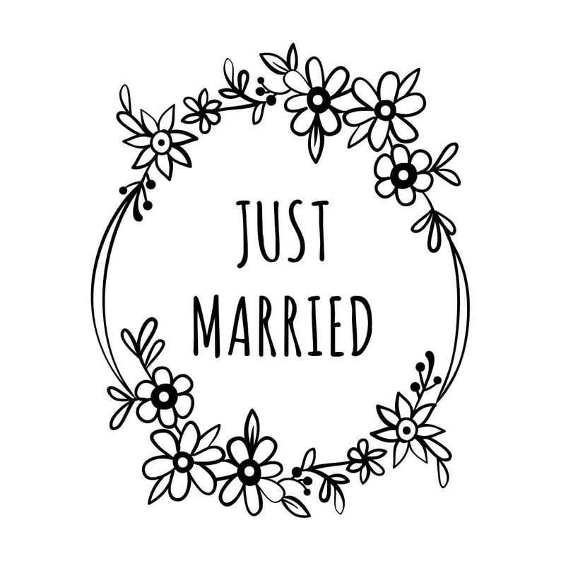 Just Married Wedding Graphics SVG Dxf EPS Png Cdr Ai Pdf Vector Art Clipart  instant download Digital Cut Print File Cricut Silhouette vinyl.