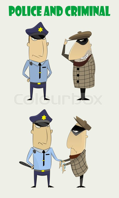 Cartoon set of policeman and criminal. Two just standing.