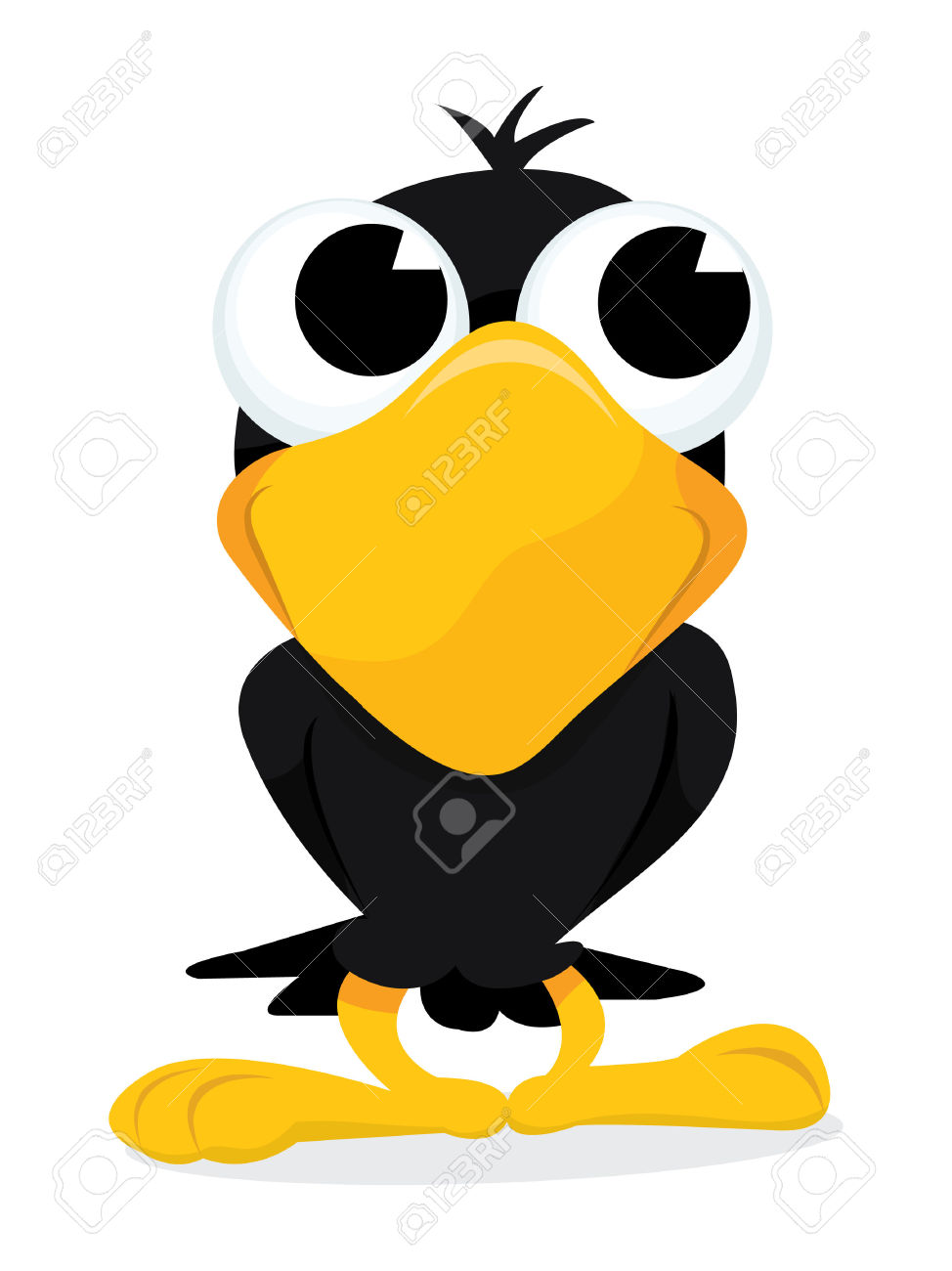 A Cartoon Vector Illustration Of A Cute Crow Just Standing.