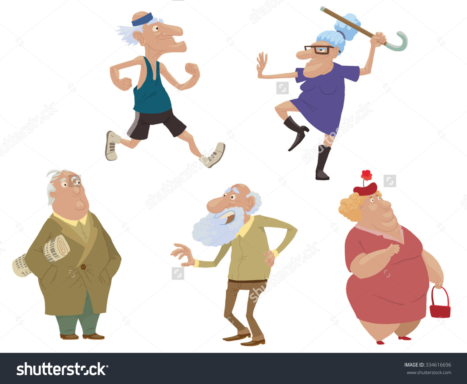 Set Of Old People Doing Sport Exercises Or Just Standing, Vector.