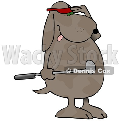 Humanlike Dog Standing On His Hind Legs, Holding A Club And.