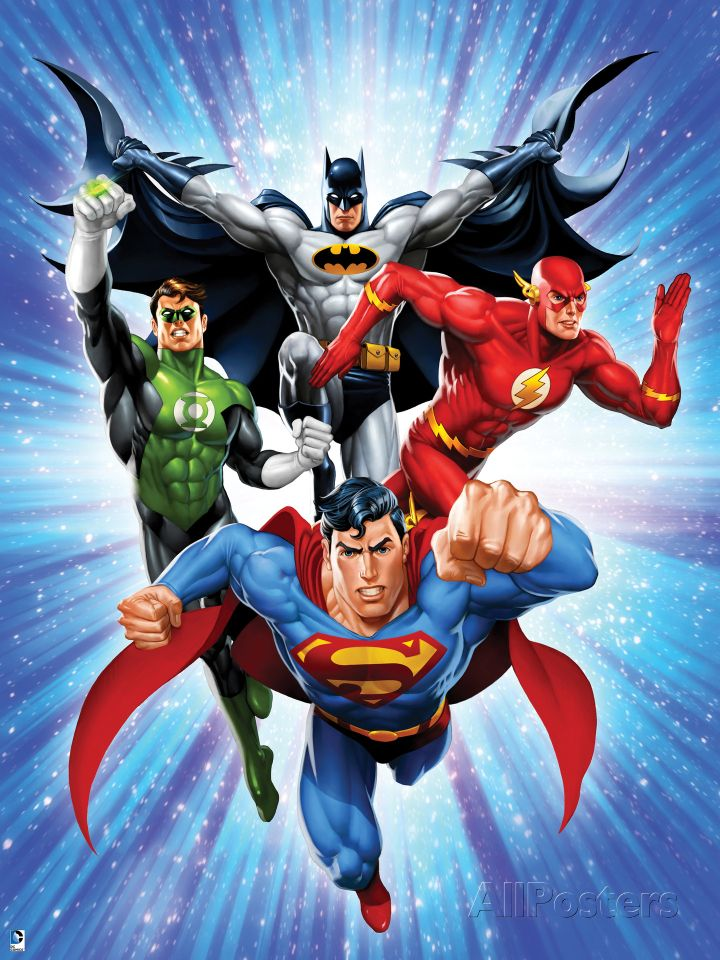 Justice League: Superman with Flash, Green Lantern, Batman.