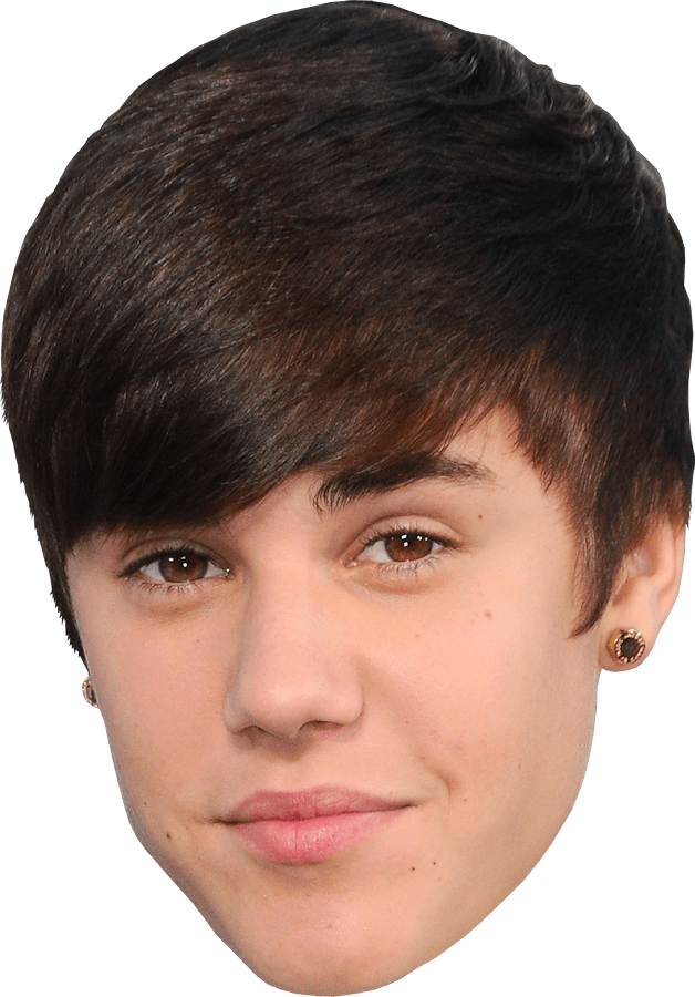 Face Justin Bieber transparent PNG.