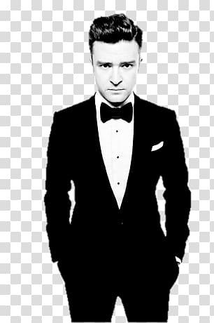 Man wearing suit and jacket, Standing Justin Timberlake.