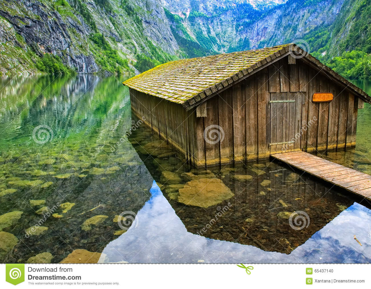 Fisherman's House On Konigsee Lake In The Alps Mountains, German.
