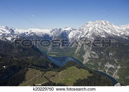 Stock Photography of View of Konigsee from Jenner k20229750.