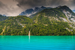 Lake Konigsee In Germany Royalty Free Stock Photo.