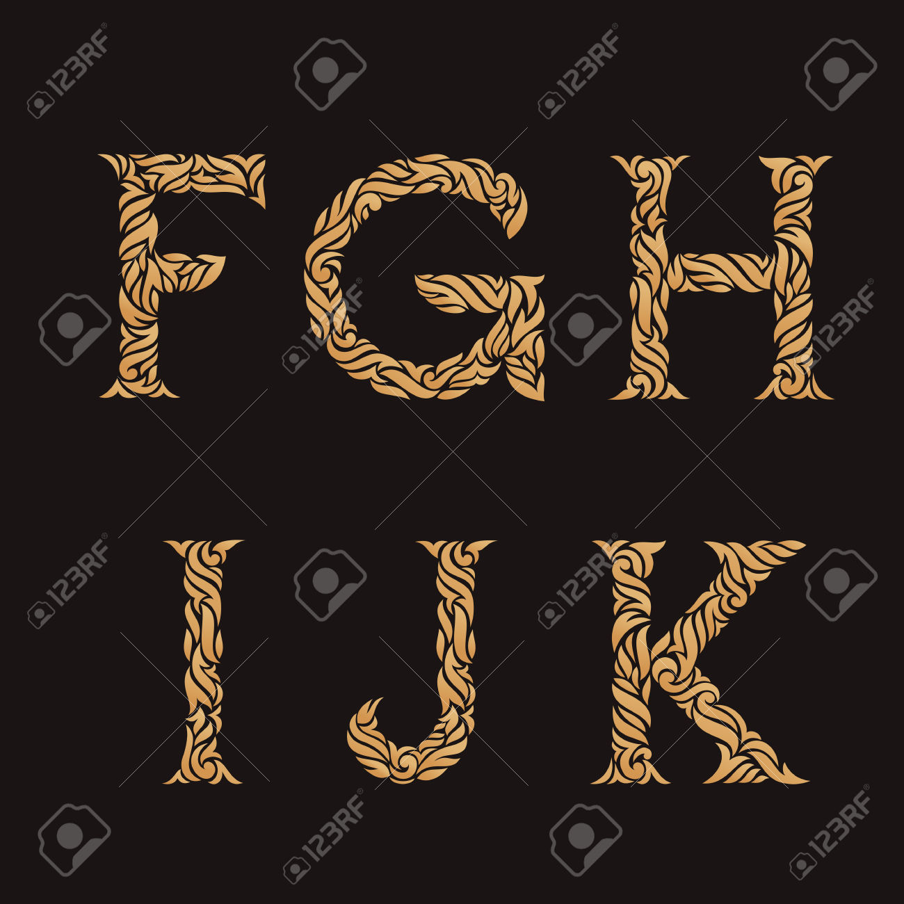 K f letters clipart.