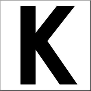 Clip Art: Alphabet Set 00: K Upper Case BW I abcteach.com.