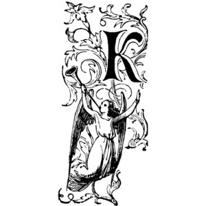 Decorative Letter K with Angel Blowing Horn Clipart.
