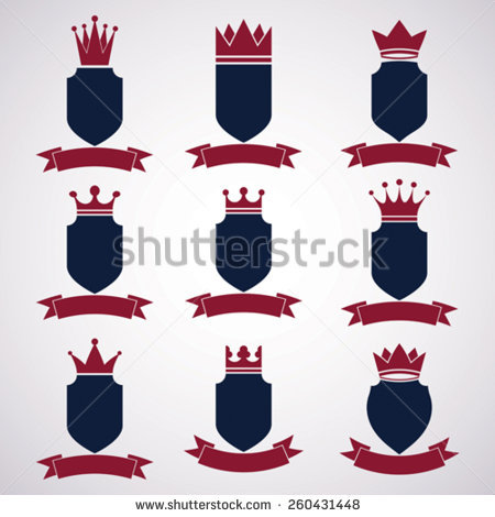 Set Winged Shields Coat Arms Heraldic Stock Vector 252737800.