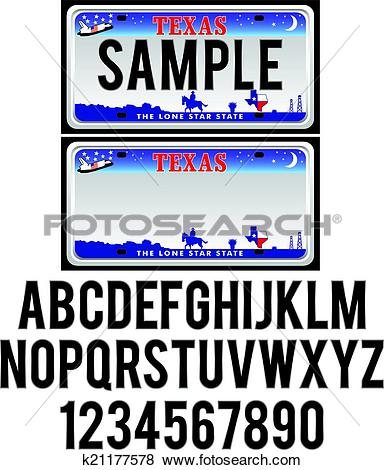 Clip Art of Texas License Plate k21177578.