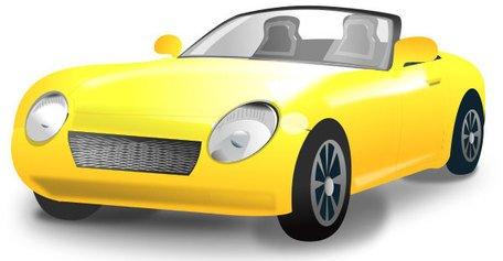 Žlutá kabriolet sportovní auto, vector graphics.