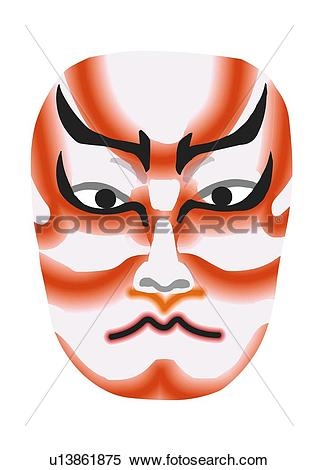 Stock Illustration of Stage makeup of Kabuki, close up, front view.