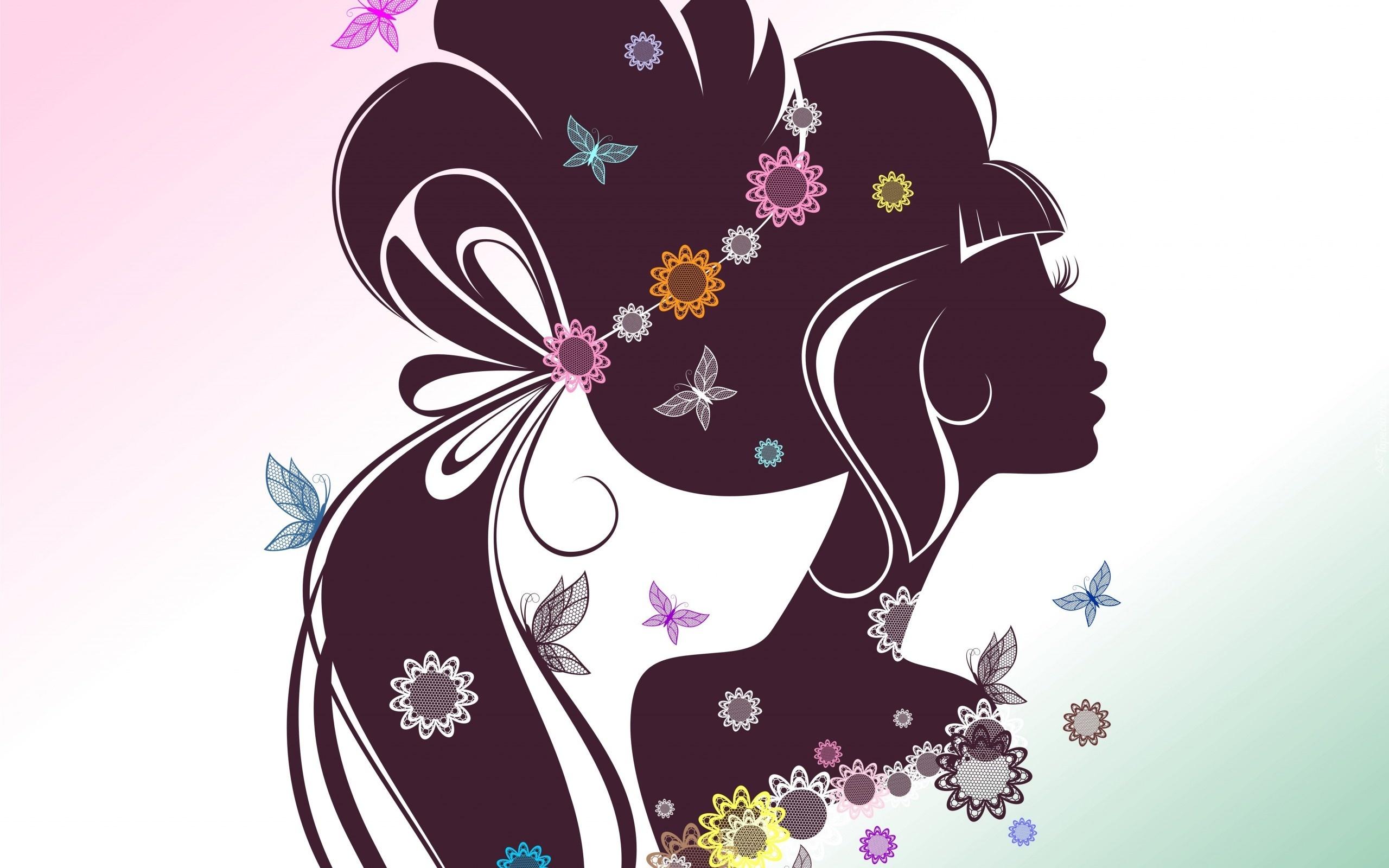 Motyle, Kwiaty, Grafika.