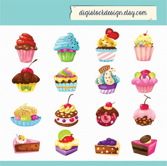 Stylish Sweet Cake Clipart. Food Illustration. 16 Colorful Cute.