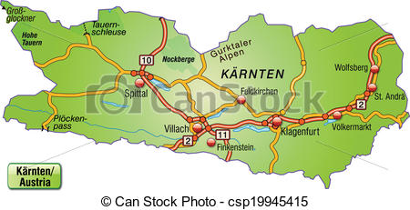 Vector Clip Art of Map of kaernten with highways csp19945415.