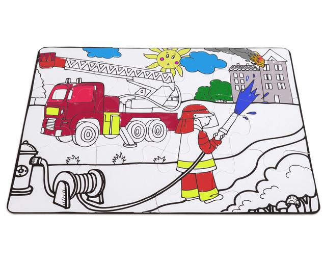 Zum Ausmalen und Zusammenpuzzlen: JUMBO Puzzle Feuerwehr.