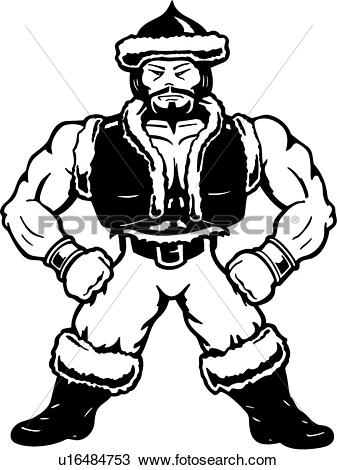 Clipart of , cartoons, genghis, genghis khan, kahn, man, mascot.