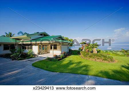 Stock Photo of Luxury home with view of Kailua Bay, Kailua.