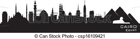 Vektor Illustration von ausführlich, silhouette, Ägypten, kairo.
