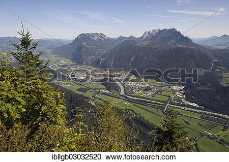 """Stock Photography of """"View of the Lower Inn Valley with the town."""