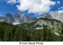 Stock Photo of Panoramic view in the Kaiser mountains in Tyrol in.