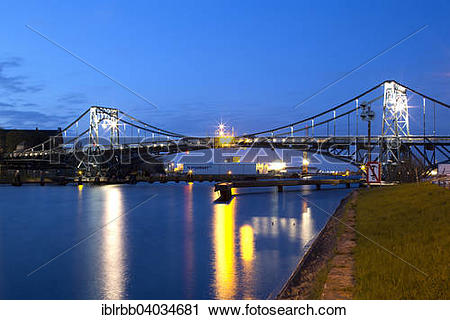 "Stock Photography of ""Kaiser Wilhelm Bridge, historic swing bridge."
