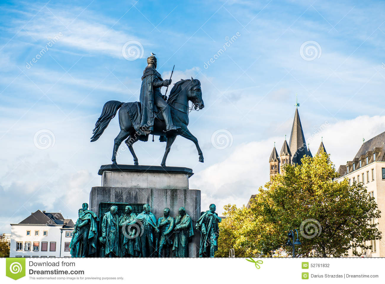 Equestrian Statue Of Wilhelm II Stock Photo.