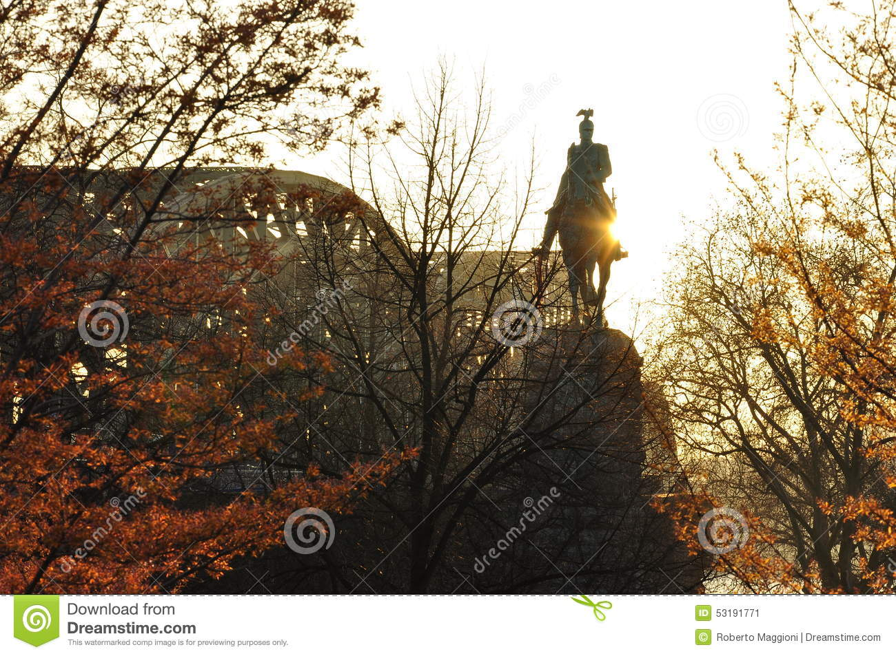 Cologne, Germany. Kaiser Wilhelm II Statue Stock Photo.