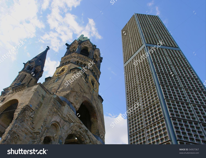 Ruins Kaiser Wilhelm Memorial Church Berlin Stock Photo 54957367.