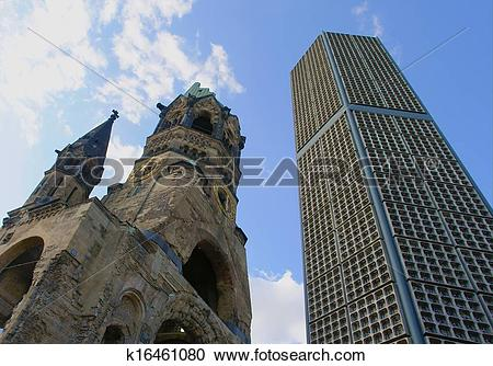 Stock Photography of Ruins of Kaiser Wilhelm Memorial Church in.