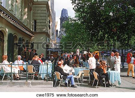 Stock Image of Sidewalk cafes near Kaiser Wilhelm Memorial Church.