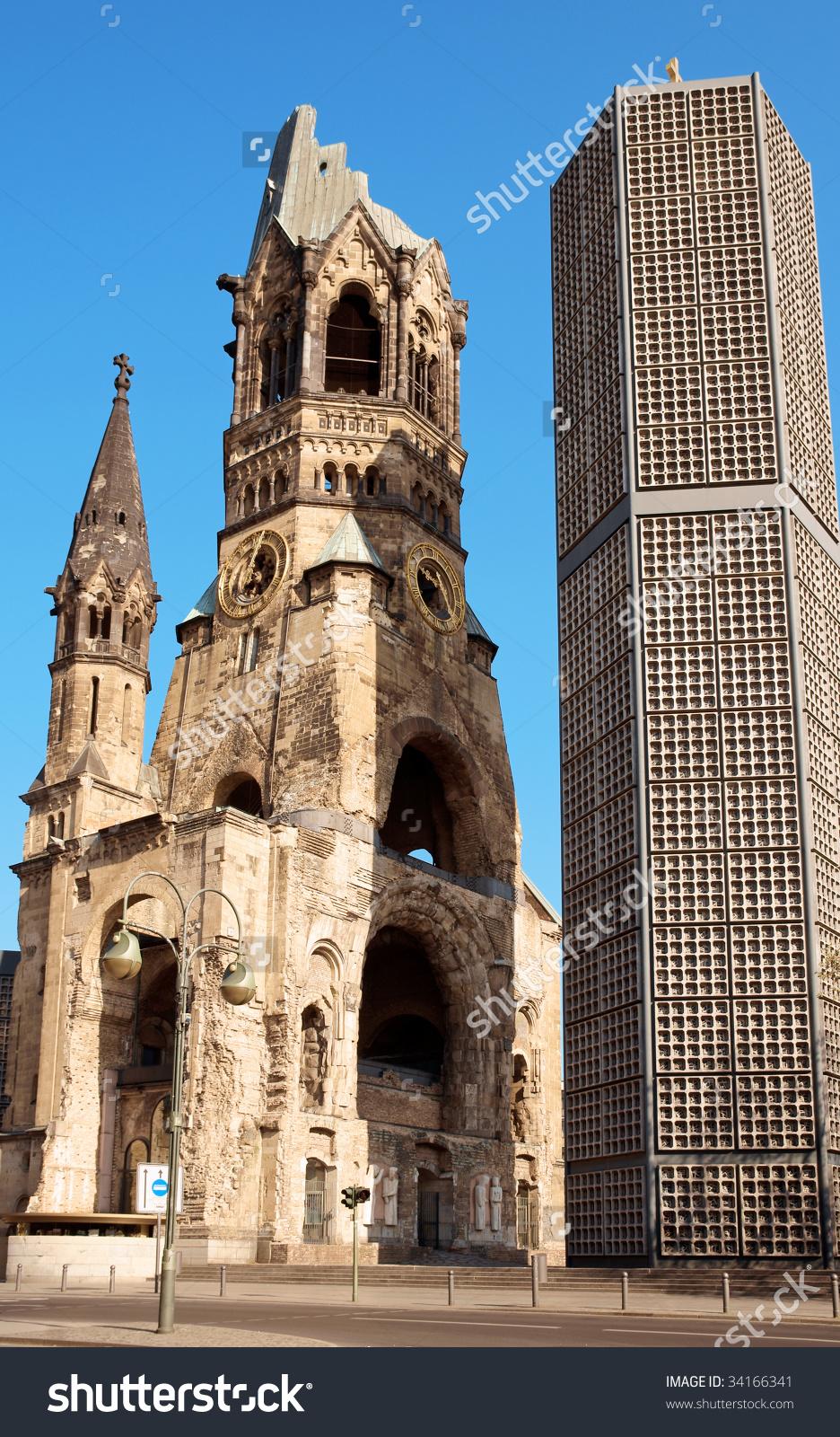 Kaiser Wilhelm Memorial Church Berlin Historical Stock Photo.