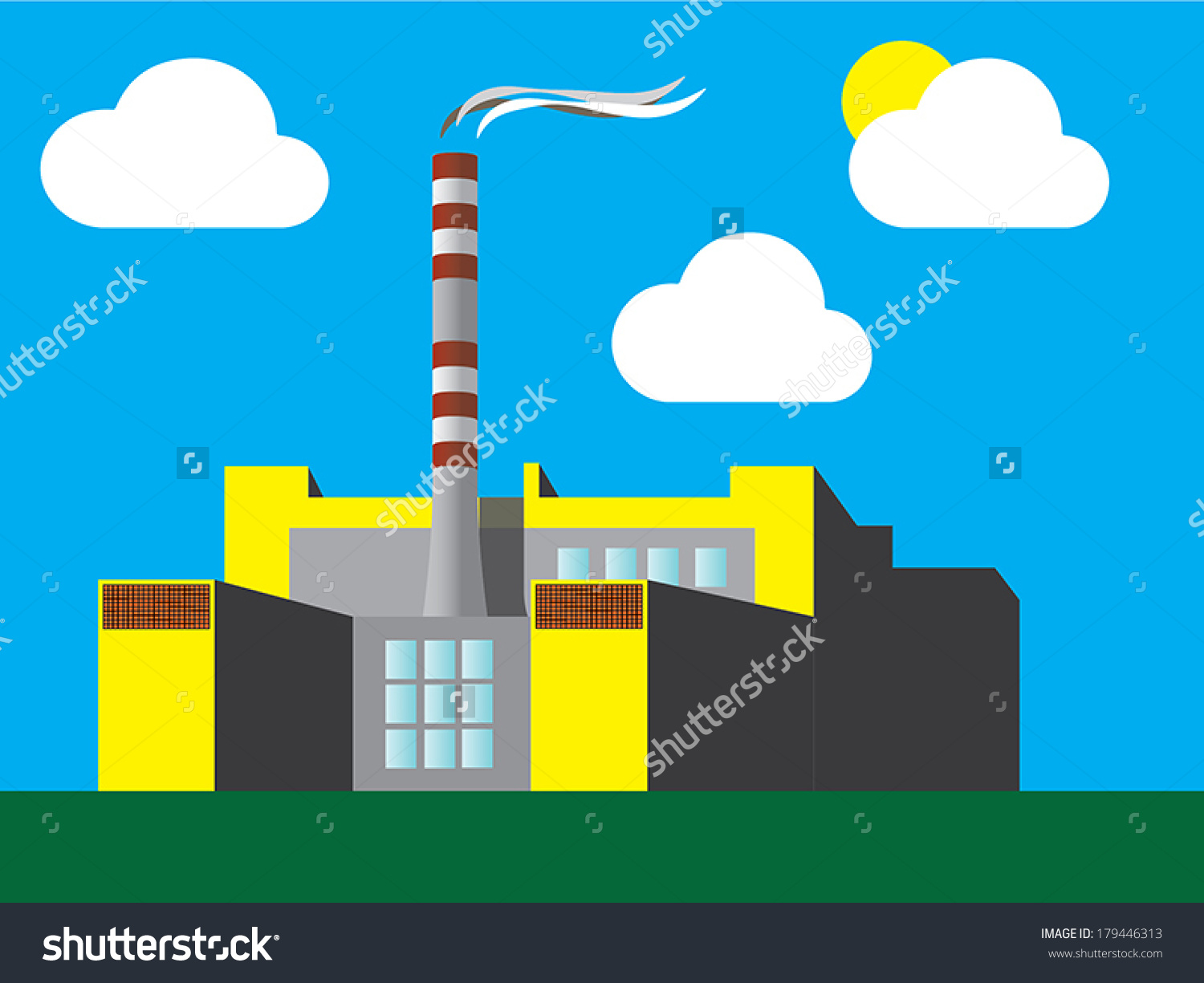 Factory Drawing Inspired By Garbage Incinerator Stock Vector.