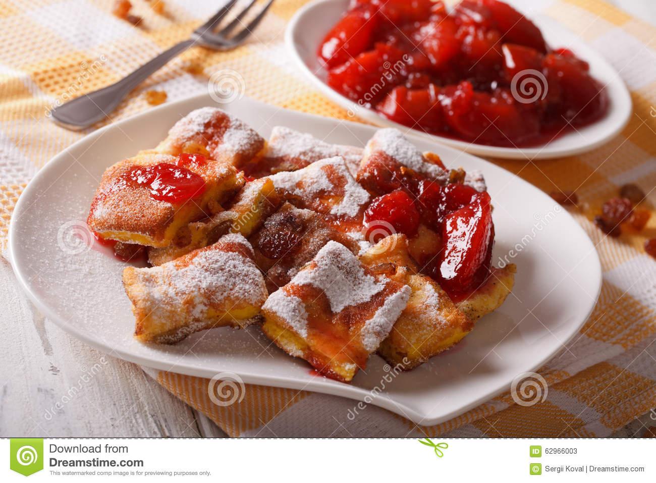 Austrian Omelette Kaiserschmarrn With Plum Sauce Closeup. Horizo.