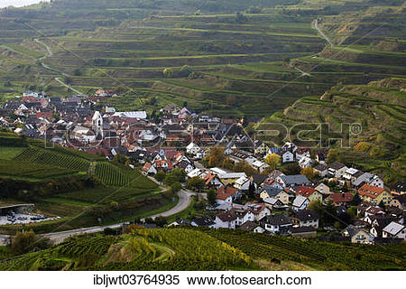"""Stock Image of """"Village surrounded by vineyards, Oberbergen."""