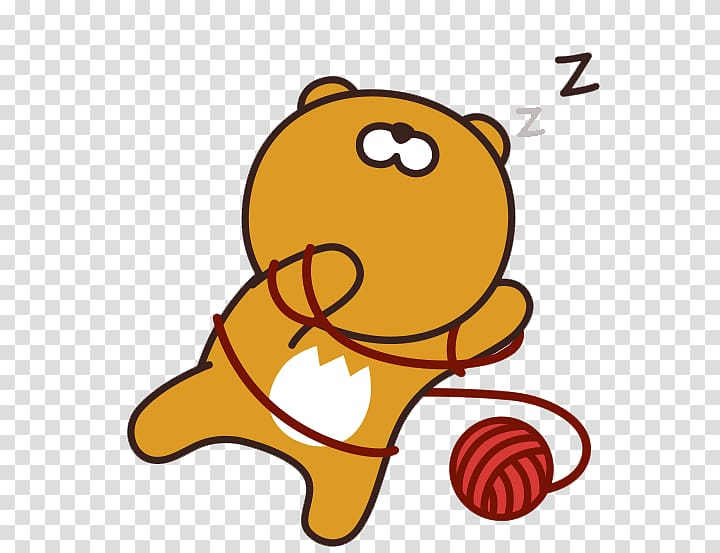 Sleeping bear illustration, KakaoTalk iPhone Kakao Friends.